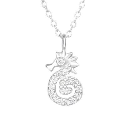 Silver Seahorse Necklace with Cubic Zirconia