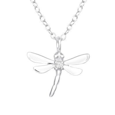 Silver Dragonfly Necklace with Cubic Zirconia
