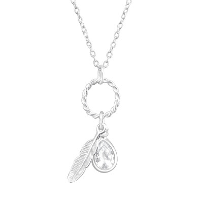 Silver Feather Necklace with Cubic Zirconia