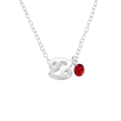Silver Cancer Zodiac Sign Necklace with Crystal