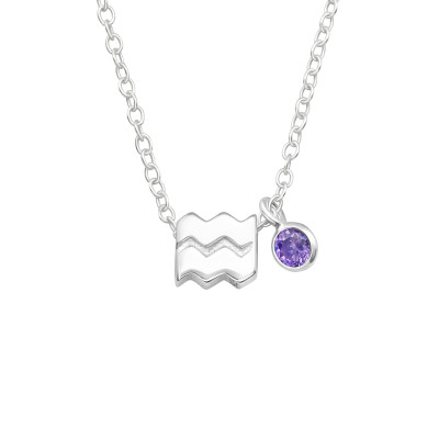 Silver Aquarius Zodiac Sign Necklace with Cubic Zirconia