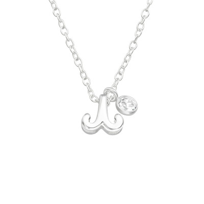 Silver Aries Zodiac Sign Necklace with Cubic Zirconia