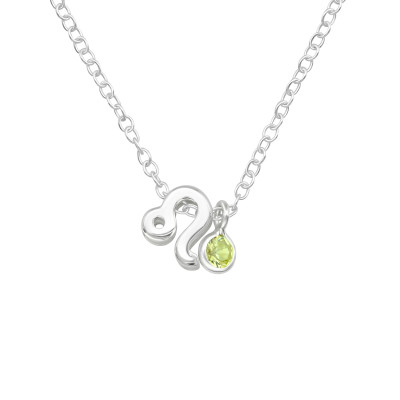 Silver Leo Zodiac Sign Necklace with Cubic Zirconia