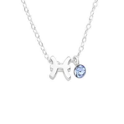 Silver Pisces Necklace with Crystal