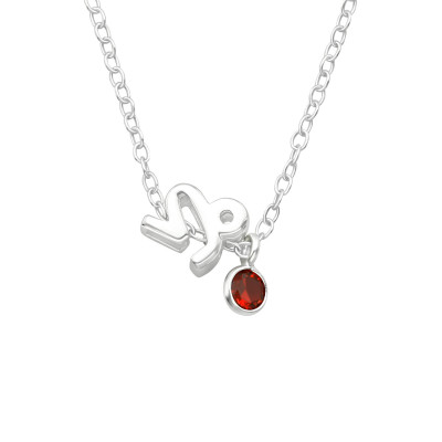 Silver Capricorn Zodiac Sign Necklace with Cubic Zirconia