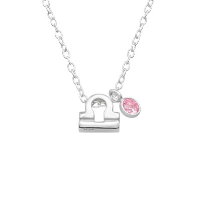 Silver Libra Zodiac Sign Necklace with Cubic Zirconia