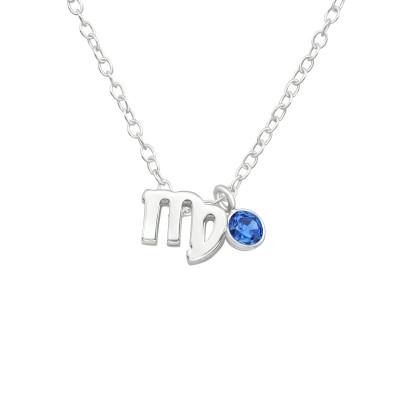 Silver Virgo Zodiac Sign Necklace with Cubic Zirconia