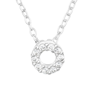 Silver Circle Necklace with Cubic Zirconia