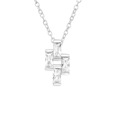 Silver Geometric Necklaces with Cubic Zirconia