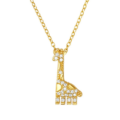 Silver Giraffe Necklace with Cubic Zirconia