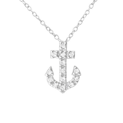 Silver Anchor Necklace with Cubic Zirconia