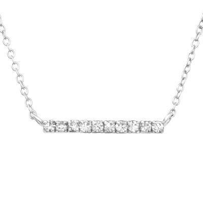 Silver Bar Necklace with Crystal