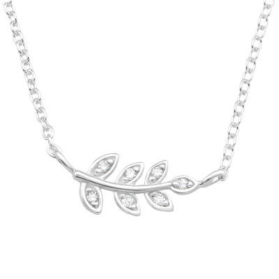 Silver Leaves Necklace with Cubic Zirconia