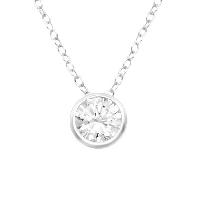 Silver Round Necklace with Cubic Zirconia