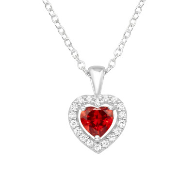 Silver Heart Necklaces with Cubic Zirconia
