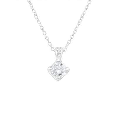 Silver Sparkling Necklace with Cubic Zirconia