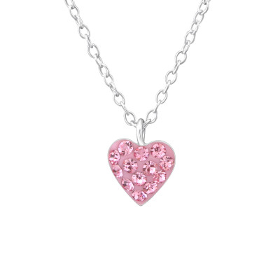 Children's Silver Heart Necklace with Crystal