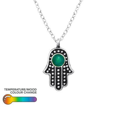 Silver Hamsa Necklace with Mood Color Epoxy