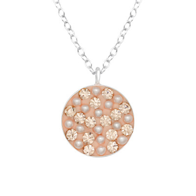 Silver Round Necklace with Crystal and Synthetic Pearl