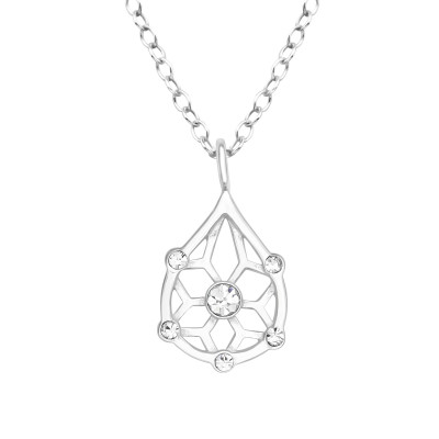 Silver Teardrop Necklace with Crystal