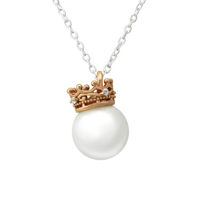 Silver Crown Necklace with Cubic Zirconia and Glass Pearl