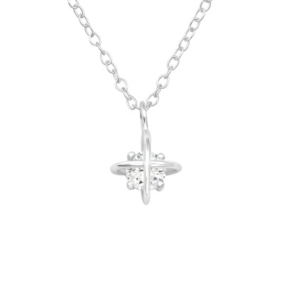 Silver North Star Necklace with Cubic Zirconia