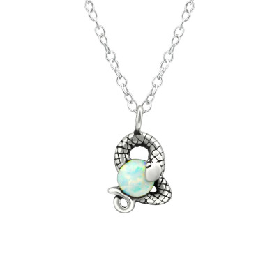 Silver Snake Necklace with Synthetic Opal