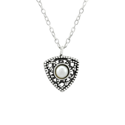 Silver Antique Necklace with Synthetic Pearl