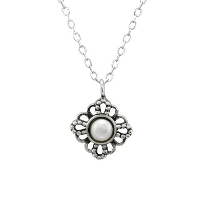 Silver Antique Necklace with Plastic Pearl