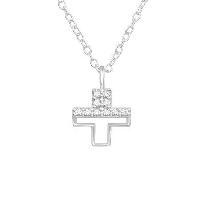 Silver Cross Necklace with Cubic Zirconia
