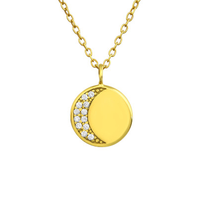 Silver Moon Necklace with Cubic Zirconia