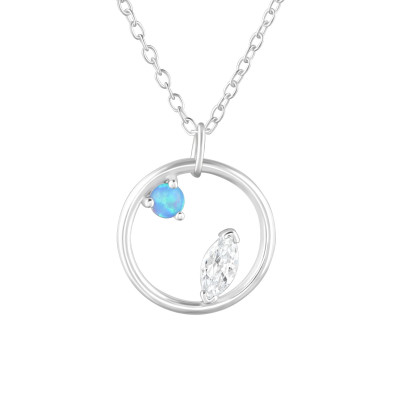 Silver Circle Necklace with Cubic Zirconia and Synthetic Opal