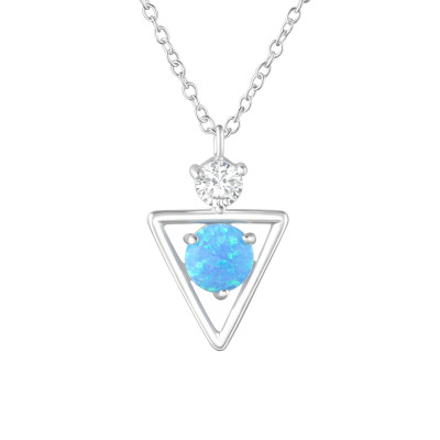 Silver Geometric Necklace with Cubic Zirconia and Synthetic Opal