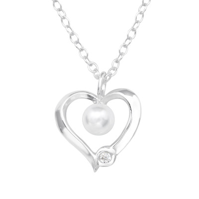 Silver Heart Necklace  with Synthetic Pearl and Cubic Zirconia