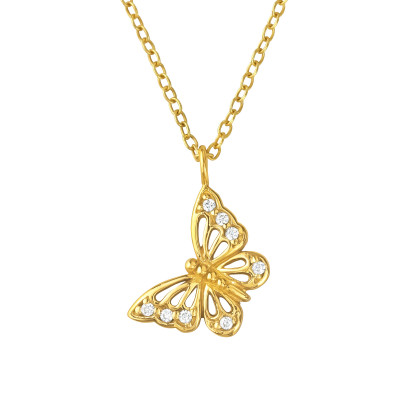 Silver Butterfly Necklace with Cubic Zirconia