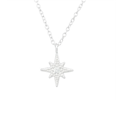 Silver Northern Star Necklace with Cubic Zirconia