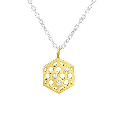 Silver Honeycomb Necklace with Cubic Zirconia