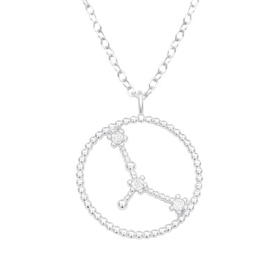 Silver Cancer Zodiac Sign Necklace with Cubic Zirconia
