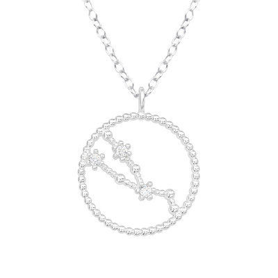 Silver Taurus Zodiac Sign Necklace with Cubic Zirconia