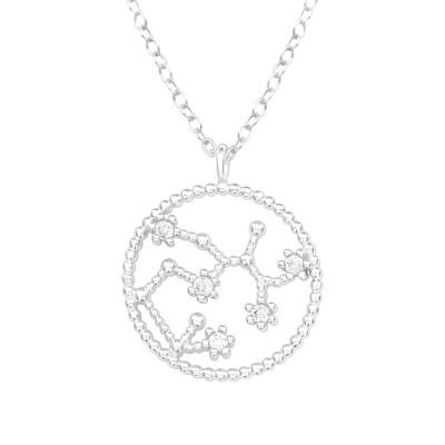Silver Sagittarius Zodiac Sign Necklace with Cubic Zirconia