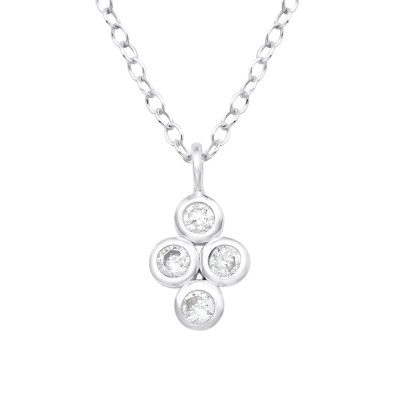 Silver Geometric Necklace with Cubic Zirconia