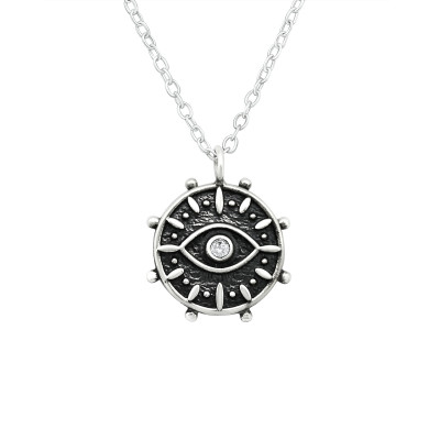 Silver Evil Eye Necklace with Cubic Zirconia