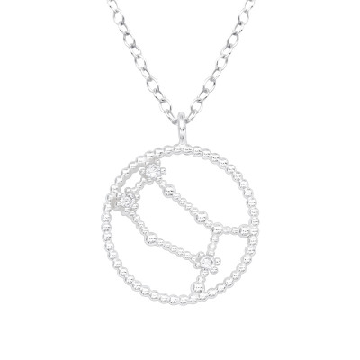 Silver Gemini Zodiac Sign Necklace with Cubic Zirconia