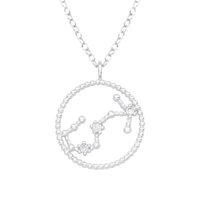 Silver Scorpio Zodiac Sign Necklace with Cubic Zirconia