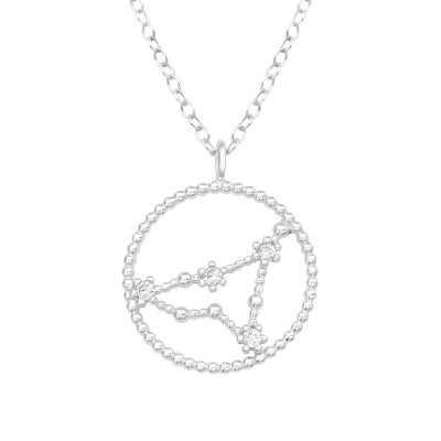 Silver Capricornus Zodiac Sign Necklace with Cubic Zirconia