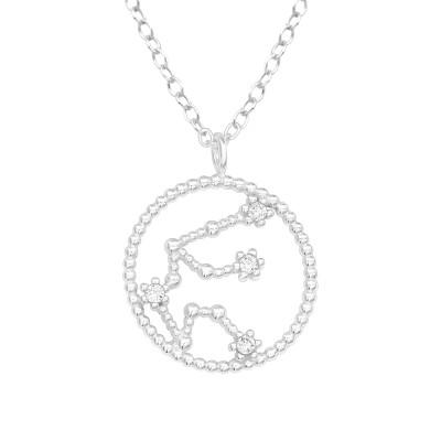 Silver Aquarius Zodiac  Sign Necklace with Cubic Zirconia