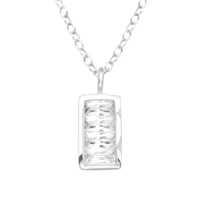 Silver Rectangle Necklace with Cubic Zirconia