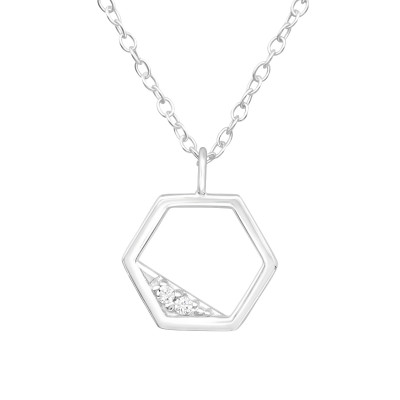 Silver Hexagon Necklace with Cubic Zirconia