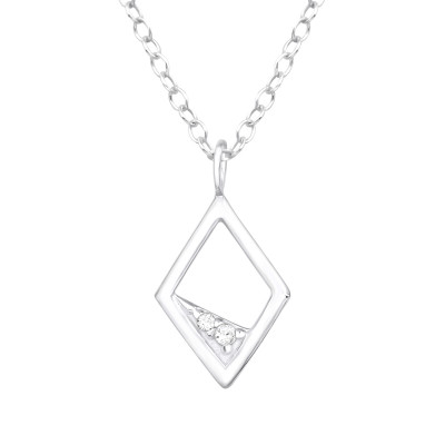 Silver Rhombus Necklace with Cubic Zirconia