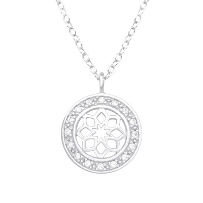 Silver Flower Necklace with Cubic Zirconia